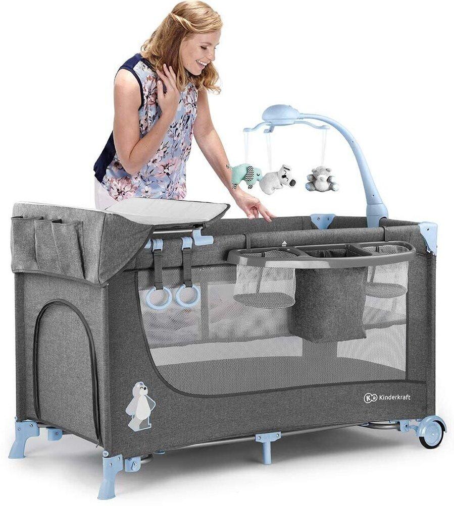 Ліжечко-манеж із пеленатором KinderKraft Joy Blue