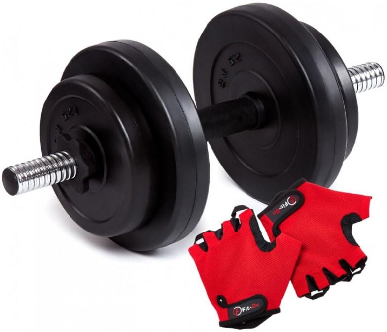 Гантель битумная Iron Body 8 кг с перчатками