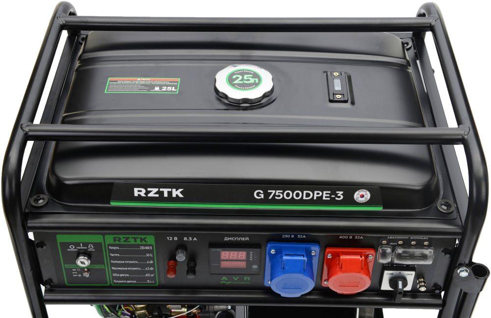 Генератор бензиновый RZTK G 7500DPE-3