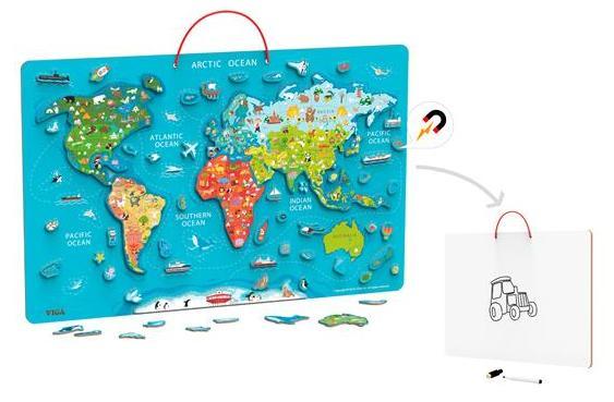 Пазл магнітний Viga Toys Карта світу з маркерною дошкою