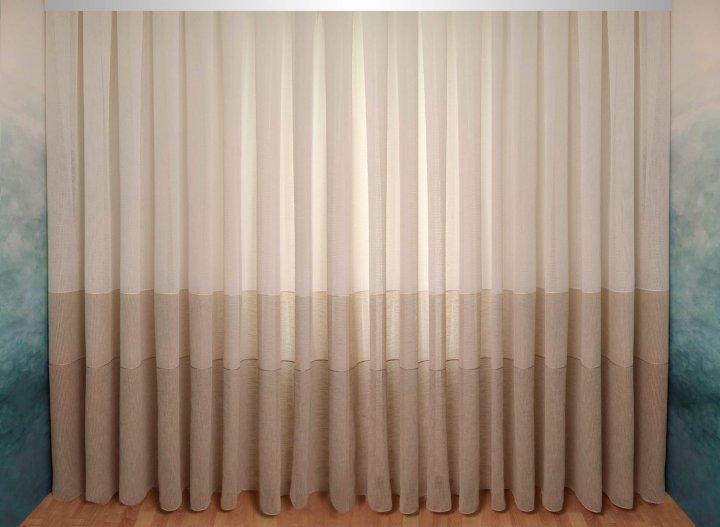 Тюль-штора Декор-Ин Плотный лен Сафари с полосой